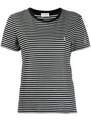 Saint Laurent Striped T Shirt Black
