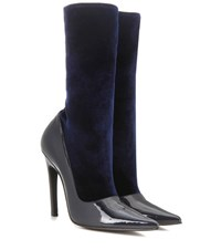 Balenciaga Velvet And Patent Leather Boots Blue