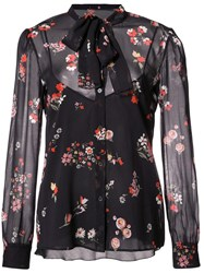 Red Valentino Floral Print Sheer Shirt Black