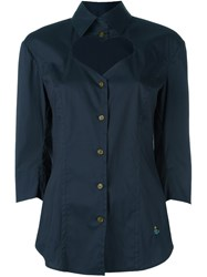 Vivienne Westwood Red Label Open Chest Buttoned Blouse Blue