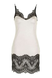 Topshop Metallic Lace Hem Tunic Top White