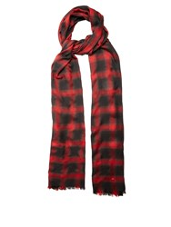Saint Laurent Checked Wool Silk And Cashmere Blend Scarf Red Multi