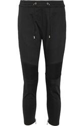 Balmain Moto Style Stretch Cotton Track Pants Black