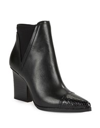 Donald J Pliner Vaughn Leather And Snake Embossed Ankle Boots Black