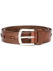 Eleventy Lace Detail Buckle Belt Brown