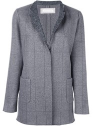 Fabiana Filippi Grid Print Coat Grey