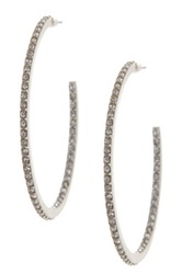 Judith Jack Sterling Silver Shine On Pave Hoop Earrings Metallic