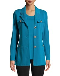 Misook Dressed Up Button Front Jacket Peacock Blue