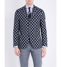 Lardini Cross Stitch Regular Fit Cotton Jacket Navy Wht