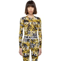 Versace Jeans Couture Black And Yellow Baroque Logo Bodysuit