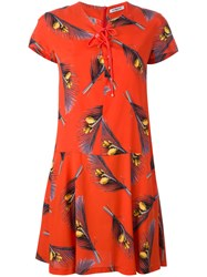Cacharel Feather Print Shirt Dress Red
