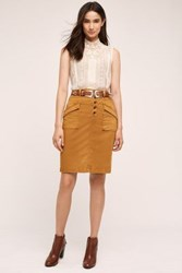 Anthropologie Pilcro Chino Pencil Skirt Dark Yellow