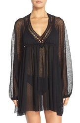 Women's Robin Piccone Crochet Trim Tunic Cover Up