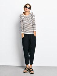 Hush Stripe Boat Neck Jumper Black
