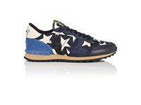 Valentino Men's Camustars Canvas And Leather Sneakers Navy Cream Blue Dark Grey