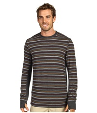 Prana Driftwood L S Crew Charcoal Men's Long Sleeve Pullover Gray