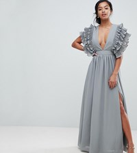 319c8cb605f True Decadence Petite Premium Plunge Front Maxi Dress With Shoulder Detail  Grey