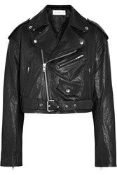 Faith Connexion Cropped Leather Biker Jacket