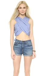A.C.E. Erin Cross Front Crop Top French Blue
