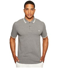 Fred Perry Twin Tipped Shirt Grey Marl Snow White Men's Short Sleeve Knit Gray