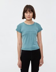Eckhaus Latta Lapped Baby Tee In Mineral Blue