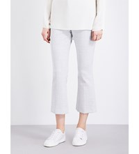 Theory Erstina Flared Cropped Twill Trousers Light Grey Melange