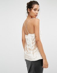 Missguided Pleated Cross Back Cami Top Oyster Beige