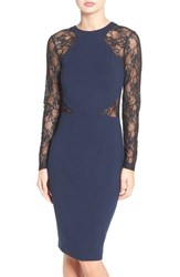 French Connection Women's 'Viven' Lace Long Sleeve Sheath Dress Nocturnal Black