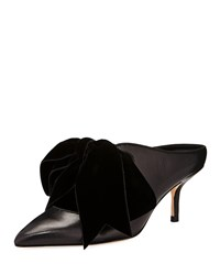 Tory Burch Clara Leather Mules With Velvet Bow Perfect Black