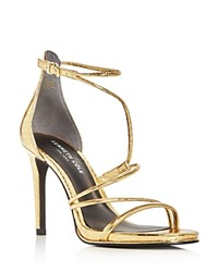 Kenneth Cole Bryanna Metallic Embossed Strappy High Heel Sandals Gold