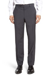 Ted Baker Men's London Flat Front Check Wool Trousers Charcoal