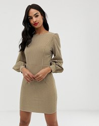 Fashion Union Gingham Long Sleeved Dress Green Gingham