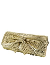 Jessica Mcclintock Metal Embellished Clutch With Bow Accent Light Gold