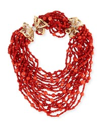 Durland Co. Multi Strand Coral Necklace With Diamonds