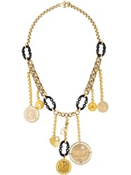 Dolce And Gabbana Vintage Charm Chain Necklace Metallic