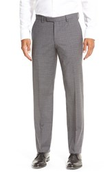 Men's Boss 'Sharp' Flat Front Check Stretch Wool Trousers