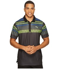 Puma Jersey Stripe Polo Black Men's Short Sleeve Knit