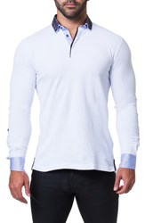 Maceoo Newton Trim Fit Long Sleeve Polo White
