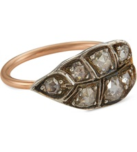 Annina Vogel 18Ct Rose Gold Diamond Leaf Ring