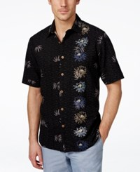 Tasso Elba Men's Loano Hibiscus Embroidered Short Sleeve Shirt Only At Macy's Black Combo