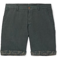 Etro Tapered Linen Bermuda Shorts Green