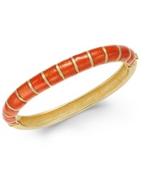 Charter Club Erwin Pearl Atelier For Gold Tone Striped Hinged Bangle Bracelet Only At Macy's Orange