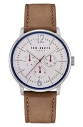 Ted Baker London Jason Multifunction Leather Strap Watch 42Mm White Dark Green