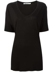 T By Alexander Wang Scoop Neck Loose Fit T Shirt Black