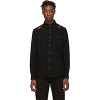 Alexander Mcqueen Black Washed Embroidery Shirt