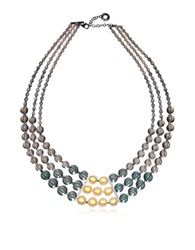 Antica Murrina Veneziana Atelier Nuance Grey And Amber Murano Glass Choker Gray