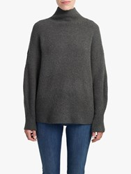 French Connection Flossy Funnel Neck Textured Jumper Ink Metallic Green