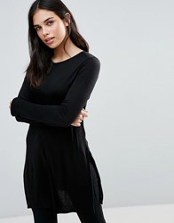 Dex Long Sleeve Skater Jersey Dress Black