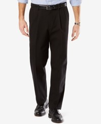 Dockers Men's Signature Relaxed Fit Khaki Pleated Stretch Pants Black