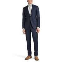 Lanvin Attitude Checked Wool Two Button Suit Blue
